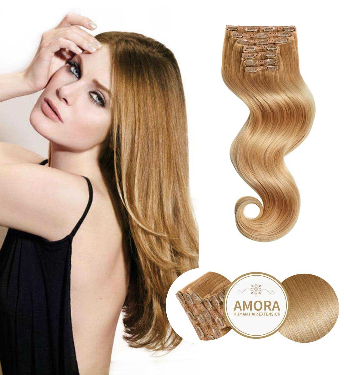 Extensii Clip ON BRILLIANT Blond Inchis 27 55 cm 27 - Blond Inchis