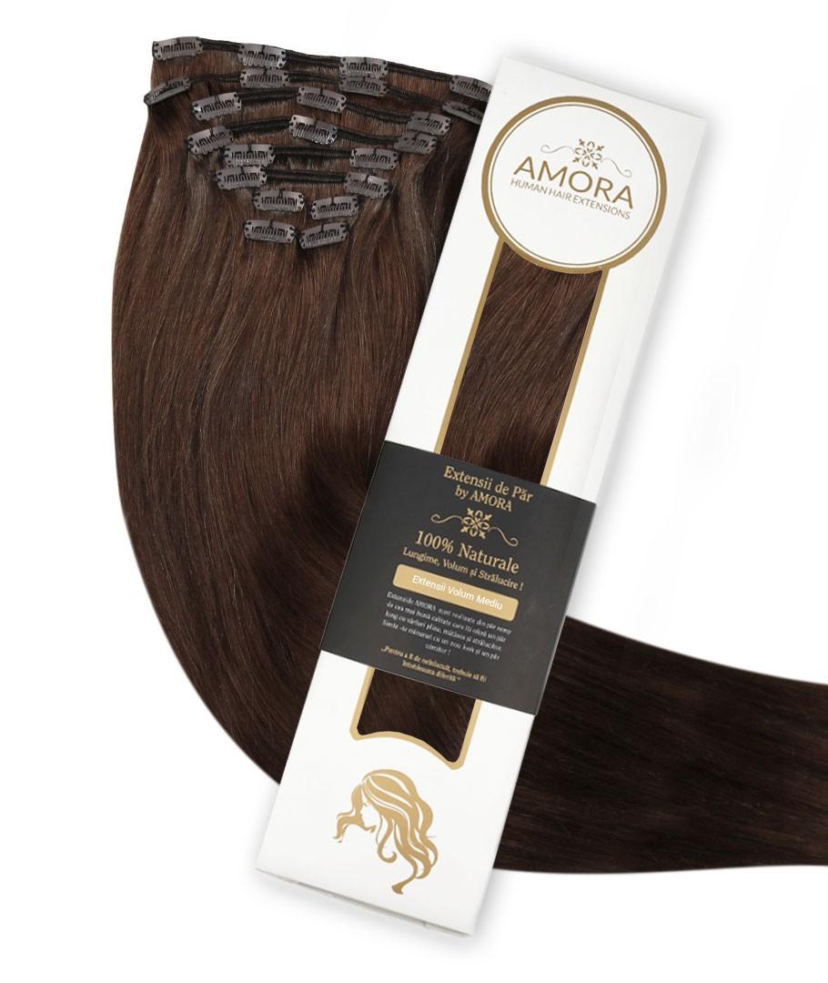 Extensii Clip On De Lux Saten Ciocolatiu 4 50 cm 4 - Saten Ciocolatiu