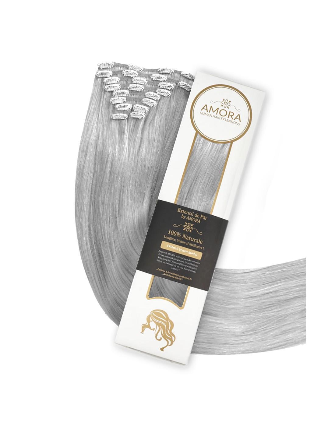 Extensii Clip On De Lux Silver Gray GRAY 60 cm GRAY - Silver Gray